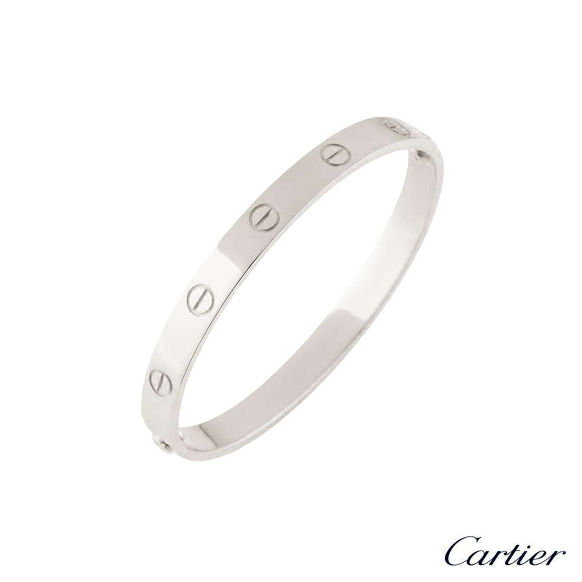 Cartier 18k White Gold Plain Love Bangle Size 16 B6035416